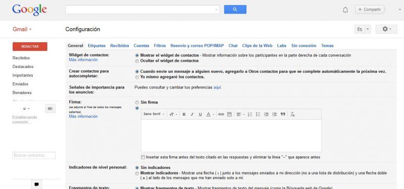 Firma mensajes Gmail correo