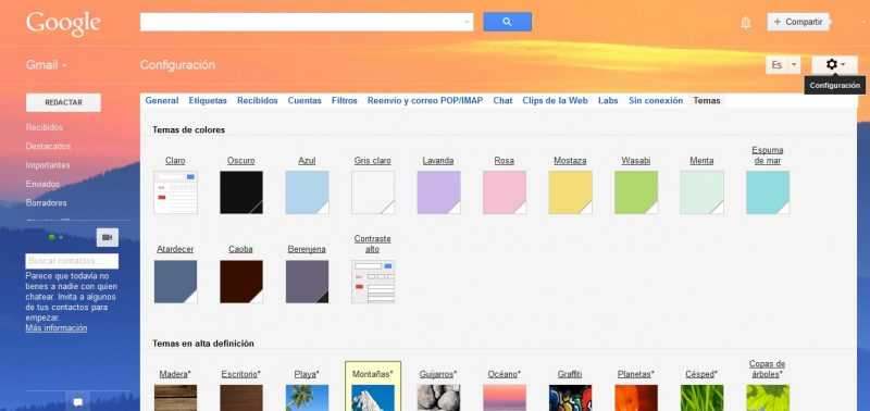 Tutorial cambiar tema Gmail